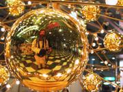 Reflection in Christmas decorations, Solaria Plaza, Fukuoka, Japan, photo