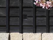 Wooden wall and cherry blossoms, Matsuyama Castle, Ehime-ken, Japan, photo
