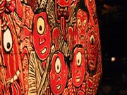 One-eyed faces, Nebuta Festival, Aomori, Japan, photo