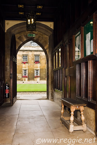 Passageway by Hall, looking to Old Court, Peterhouse, Cambridge, England