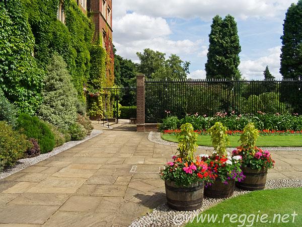 Flower pots, Old Court, Selwyn College, Cambridge, England