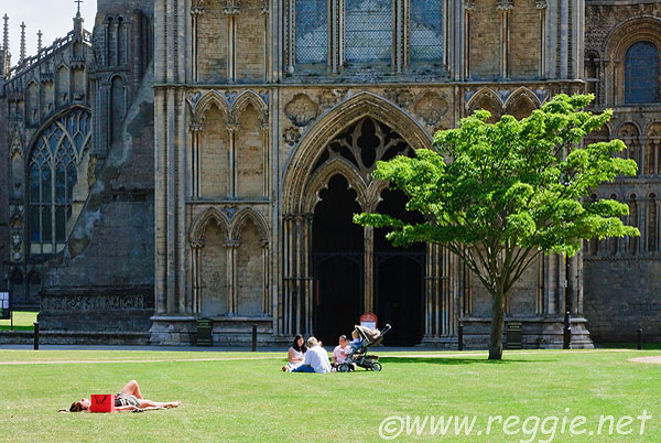 Relaxing on Palace Green, Ely Cathedral
