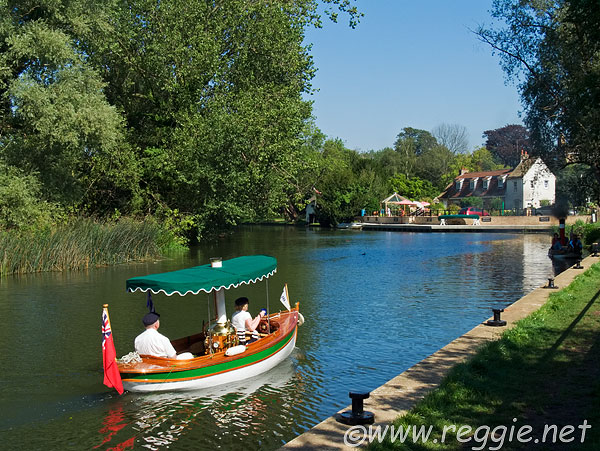 Steam boat for two, River Great Ouse, Hemingford Grey, Cambridgeshire, England