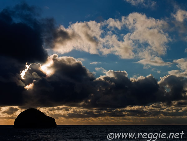 Gull island sunset, Trebarwith Strand, Cornwall, England