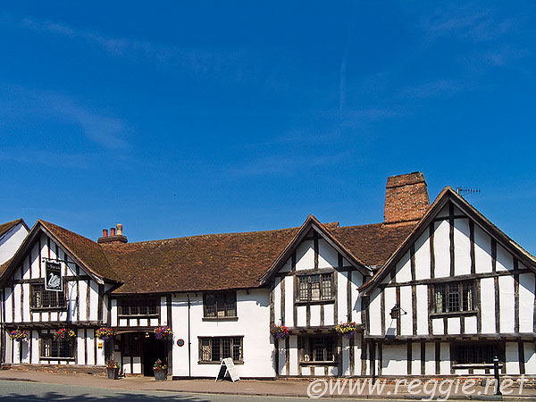Medieval timber-frame building, Swan Hotel, High Street, Lavenham, Suffolk, England