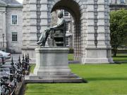 Statue and Campanile, Trinity College, Dublin, Ireland, photo