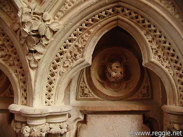 Coving detail, Gothic church, Kylemore Abbey, Co. Galway, Ireland, photo