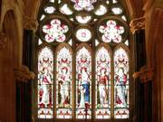 Stained glass windows, Gothic church, Kylemore Abbey, Co. Galway, Irelandの写真