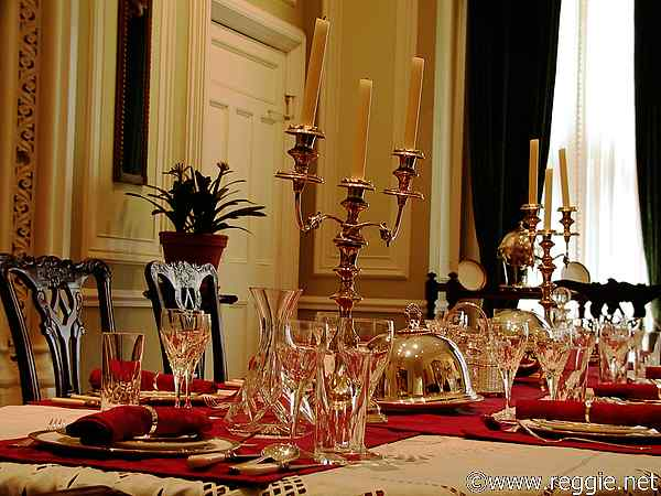 Dining Table Kylemore Abbey Co Galway Ireland Photo