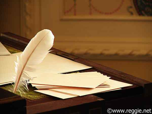 Quill and writing desk, Kylemore Abbey, Co. Galway, Ireland, photo