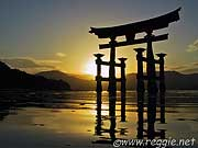 Itsukushima Shrine Torii at sunset, Miyajima, Hiroshima-ken, Japan, photo
