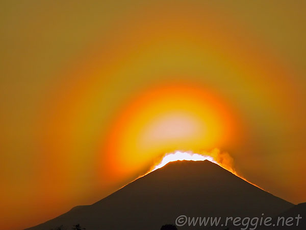 Mt. Fuji sunset and rainbow, from Sakonyama, Yokohama, Kanagawa-ken, Japan, photo